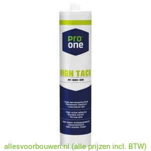 Pro One High Tack Kit, Wit of zwart 290ml.