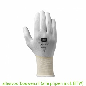Pro One Handschoen, Wit,  Nylon PU Coating, Maat 9, 10 en 11.